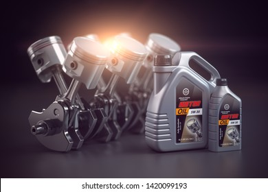 Engine, crankshaft and pistons with motor oil canister. Auto service concept. 3d illustration
