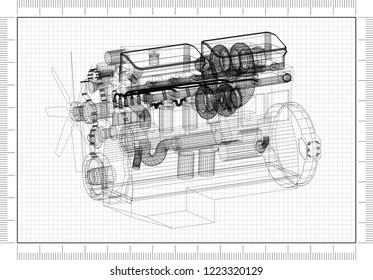 Engine Design Architect Blueprint