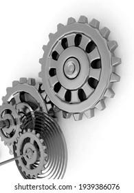 engine gear wheels, industrial background. 3d render
