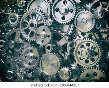 Engine gear wheels. Industrial and teamwork concept background. 3d illustration