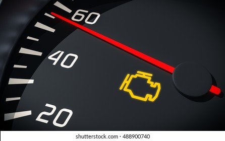 Engine malfunction warning light control in car dashboard. 3D rendered illustration. Close up view.