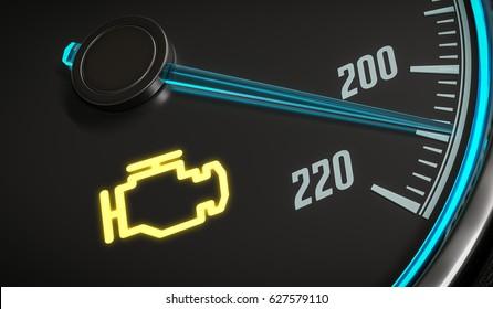 Engine malfunction warning light control in car dashboard. 3D rendered illustration.