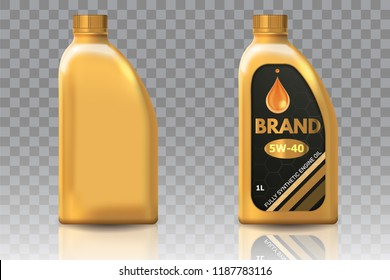 Engine oil plastic bottle package mockup set. realistic illustration of blank plastic canister for motor oil and container with label isolated on transparent background.
