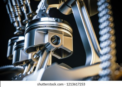 Engine pistons. Crankshaft mechanism. 3d render concept.