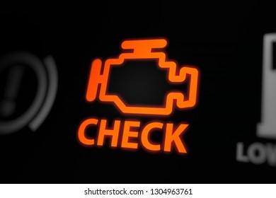 Engine Problems/Check Engine Warning Light Blinking on Car Dashboard.  3D illustration