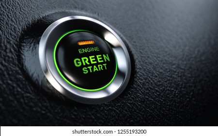 Engine Start Button Go Green Concept. 3D illustration