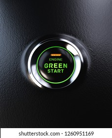 Engine Start Button Go Green Concept. 3D illustration
