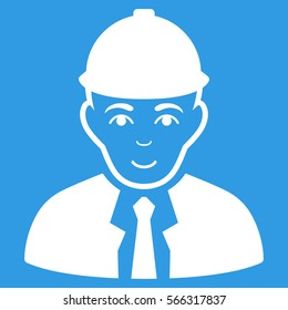 Engineer glyph icon. Flat white symbol. Pictogram is isolated on a blue background. Designed for web and software interfaces.