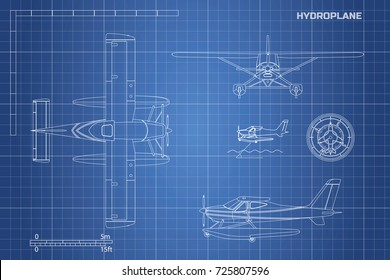 Engineering blueprint of plane. Hydroplane view top, side and front. Industrial drawing of aircraft.