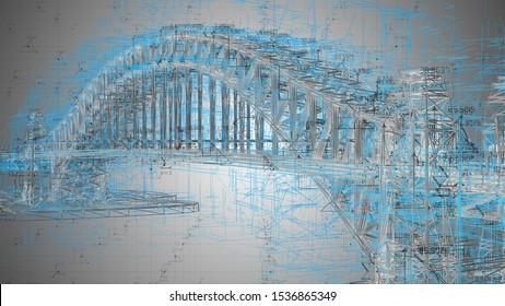 Ingenieurarchitektur-Disziplinen im Zusammenhang mit Brückenbau - 3D Illustration Rendering