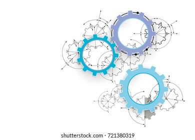 Engineering drawing abstract industrial background with a cogwheels. Gears in engagement.