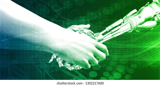 Engineering Technology with Robotic Arm and Human Hand Handshake 3D Render