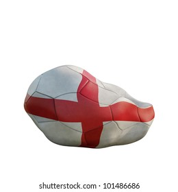 england deflated soccer ball isolated on white