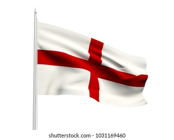 England flag floating in the wind with a White sky background. 3D illustration.