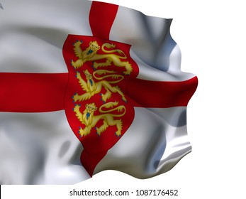 England flag Isolated  Silk waving flag with emblem three lions on red shield of  England with a flagpole on a white background 3D illustration