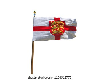 England flag Isolated Silk waving flag made transparent fabric of England with emblem three lions on red shield with wooden flagpole gold spear on white background isolate real foto 3d illustration