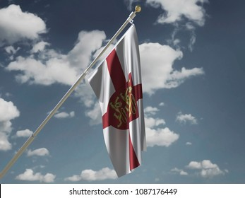 England flag Silk waving flag with emblem three lions on red shield  of England with a flagpole on a sunny gray blue sky background with white clouds 3D illustration