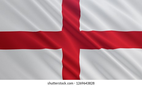 England flag is waving 3D illustration. Symbol of British, English nation on fabric cloth 3D rendering in full perspective.