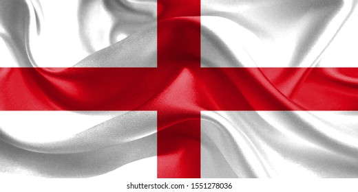England Flag. Flag of England. Waving England Flags. 3D Realistic Background Illustration in Silk Fabric Texture