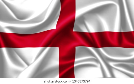 England flag waving in the wind. 3D Ilustration