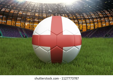 England football team ball on big stadium background. England Team competition concept. England flag on ball team tournament in Russia. Sport competition on green grass background. 3d rendering