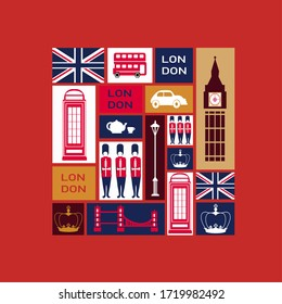 England, London, Great Britain. Collection of color icons. Illustration. Hand drawn icon set. Romantic vector illustration kit.