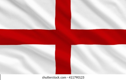 England national flag on the fabric texture background