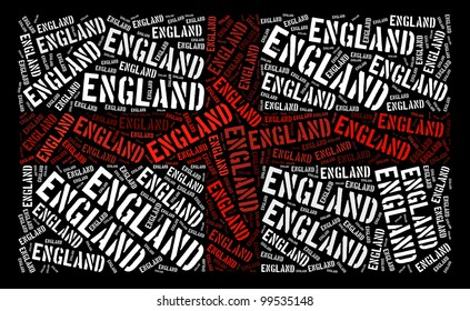 England national flag text graphic and arrangement concept on black background