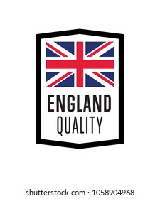 England quality label for products illustration isolated on white background. Square exporting stamp with british flag, certificate element