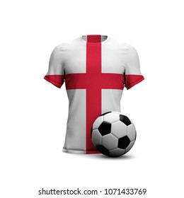 afd4b8070 England soccer shirt with national flag and football ball. 3D Rendering