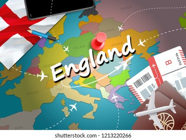 England travel concept map background with planes, tickets. Visit England travel and tourism destination concept. England flag on map. Planes and flights to English holidays to English,Liverpool