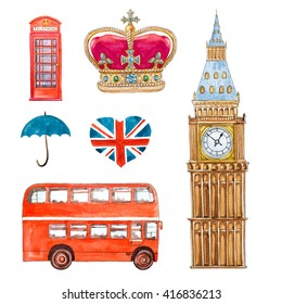 england travel watercolor set