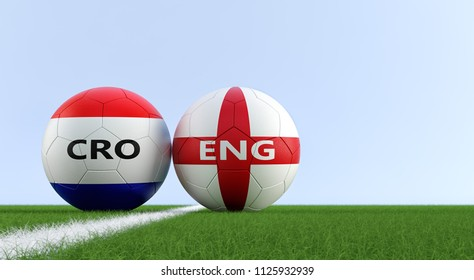 England vs. Croatia Soccer Match - Soccer balls in England and Croatia national colors on a soccer field. Copy space on the right side - 3D Rendering