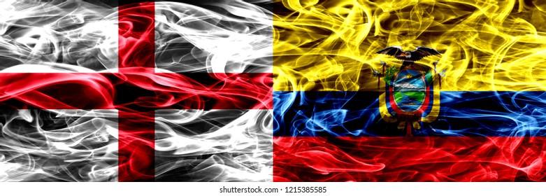 England vs Ecuador, Ecuadorian smoke flags placed side by side. Thick colored silky smoke flags of English and Ecuador, Ecuadorian