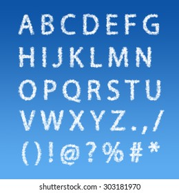 English alphabet from clouds on blue sky background