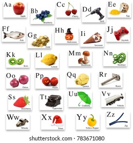 English alphabet with image on white background
