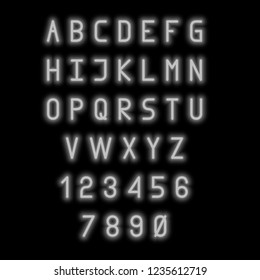 English alphabet and numbers. Neon style. Grey letters.