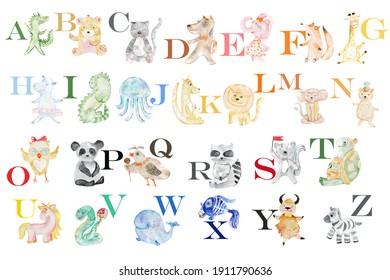 English alphabet with watercolor animals. Children's illustration.