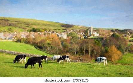 English countryside with cows and a church in the village of Abbotsbury Dorset UK  illustration like oil painting