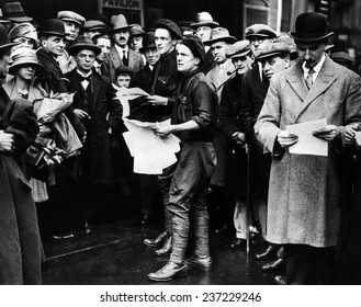 English General Strike British fascists distributing propaganda in the West End of London on the day the Great General strike ended May 14.