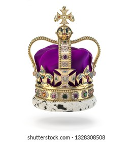 English golden crown with jewels isolated on white. Royal symbol of UK monarchy. 3d illustration