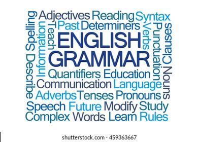 English Grammar Word Cloud on White Background