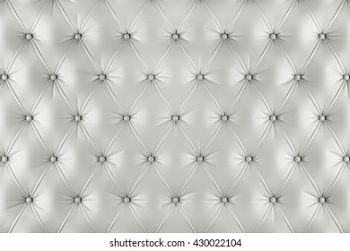 English ivory genuine leather upholstery, chesterfield style background. 3D rendering