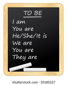 English lesson on a blackboard