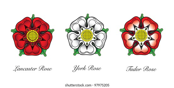 English Rose emblems. Following the War of the Roses, the red rose of  the house of Lancaster and the White rose of York combined to make the dual coloured Tudor rose. Also available in vector format.