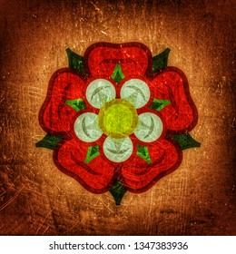 The English Rose (The Queen of flowers). Flower from The Garden of Eden; Paradise flower. The symbol of love and passion, beauty and perfection; also heraldic emblem. (Alternate grunge vintage remake)