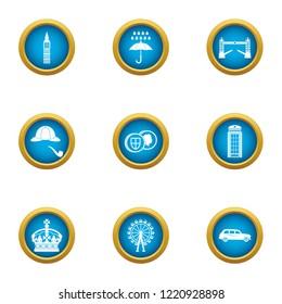 English snob icons set. Flat set of 9 english snob icons for web isolated on white background