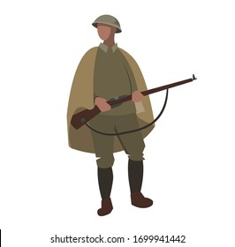 English soldier of the first and second world war with a rifle in a Cape