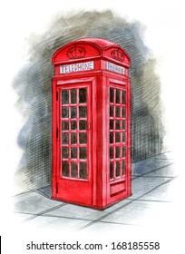 English telephone box drawn by hand