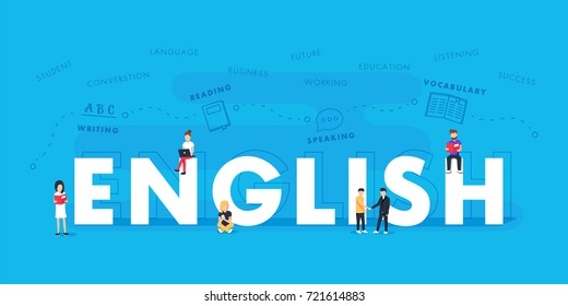 English word for education with icons flat design. polyglot typographical wordcloud with mutiple words pertaining to language, study, dialogue and translation, in different sized fonts